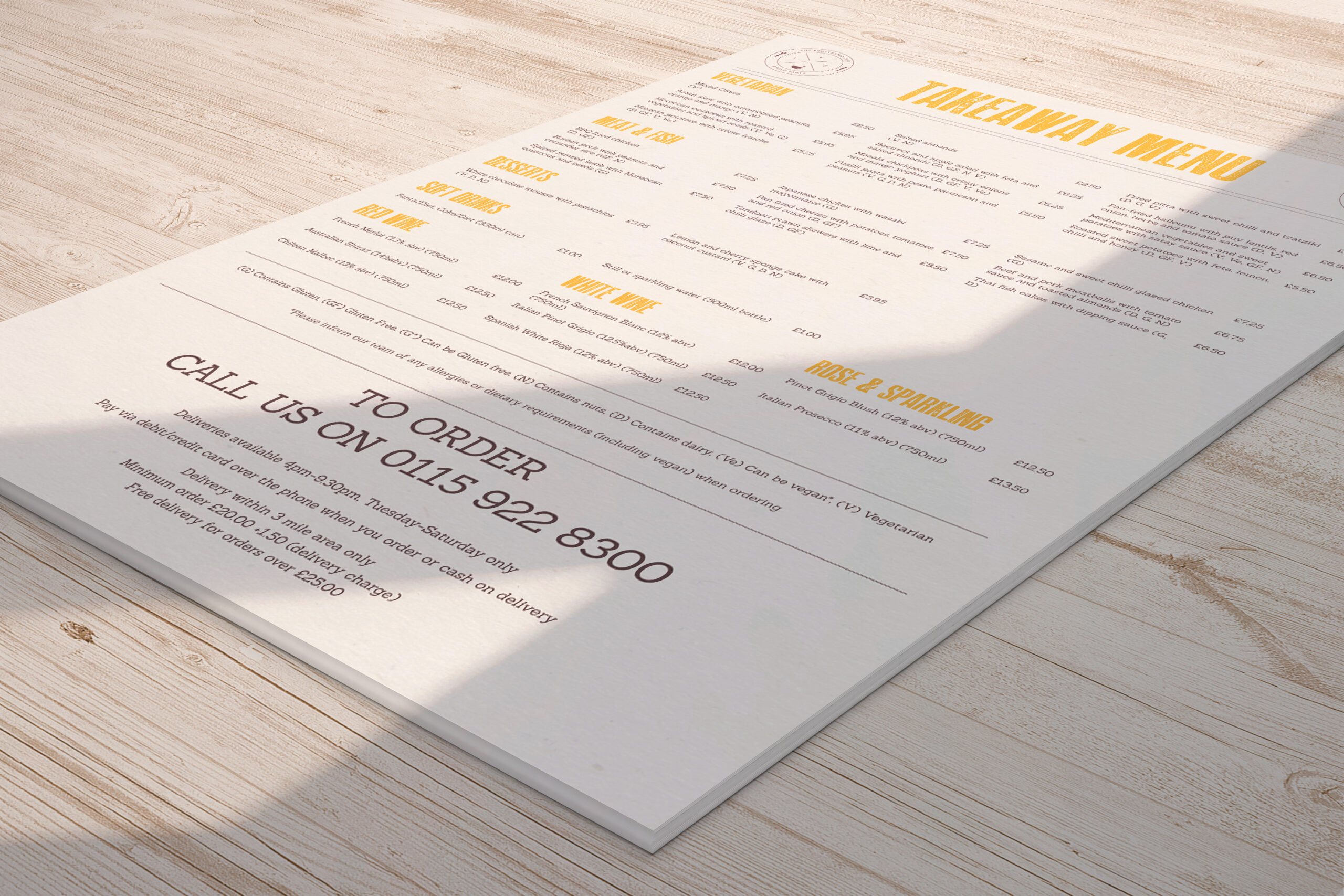 The Frustrated Chef - Take-Away Menu